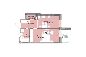 Продается 1-комнатная квартира 41.73 кв. м в Вышгороде