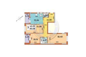 Продается 3-комнатная квартира 80.08 кв. м в Киеве