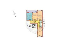 Продается 3-комнатная квартира 85.01 кв. м в Киеве