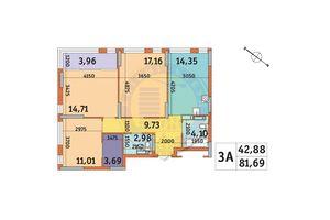 Продается 3-комнатная квартира 81.69 кв. м в Киеве