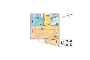Продается 1-комнатная квартира 38.27 кв. м в Киеве