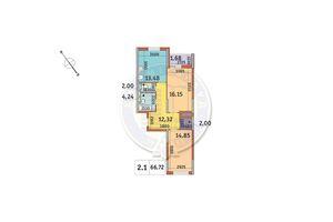 Продається 2-кімнатна квартира 66.72 кв. м у Києві