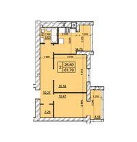 Продается 2-комнатная квартира 61.7 кв. м в Хмельницком