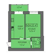 Продается 1-комнатная квартира 44.5 кв. м в Ивано-Франковске