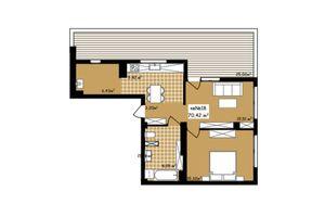 Продается 2-комнатная квартира 70.42 кв. м в Черновцах