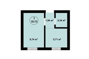 Продается 1-комнатная квартира 19.73 кв. м в Киево-Святошинске