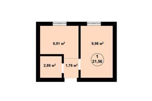 Продается 1-комнатная квартира 21.62 кв. м в Киево-Святошинске