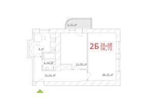 Продается 2-комнатная квартира 53.84 кв. м в Харькове