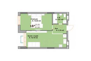 Продается 1-комнатная квартира 41.54 кв. м в Вышгороде
