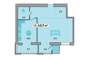 Продается 1-комнатная квартира 68.9 кв. м в Днепре