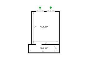 Продается офис 59.4 кв. м в нежилом помещении в жилом доме