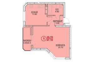 Продается 1-комнатная квартира 47.1 кв. м в Вышгороде