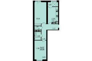 Продается 2-комнатная квартира 68.88 кв. м в Черкассах
