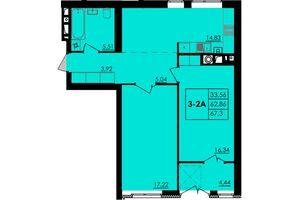 Продается 2-комнатная квартира 67.3 кв. м в Черкассах