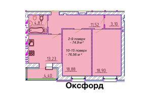Продается 2-комнатная квартира 74.9 кв. м в Черкассах