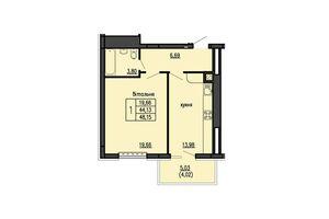 Продається 1-кімнатна квартира 48.15 кв. м у Тернополі
