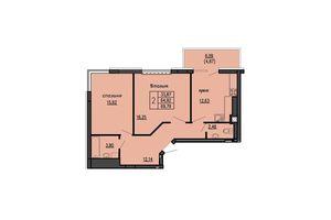 Продается 2-комнатная квартира 69.79 кв. м в Тернополе