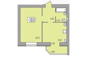 Продається 1-кімнатна квартира 46.67 кв. м у Хмельницькому