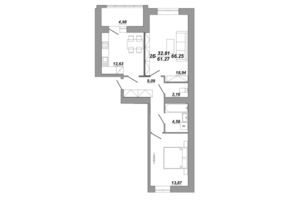 Продається 2-кімнатна квартира 66.66 кв. м у Тернополі