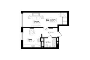 Продается 3-комнатная квартира 89.27 кв. м в Львове