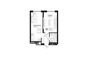 Продається 1-кімнатна квартира 42.6 кв. м у Львові