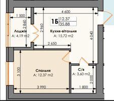 Продается 1-комнатная квартира 35.88 кв. м в Ирпене