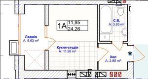 Продается 1-комнатная квартира 24.26 кв. м в Ирпене