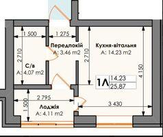 Продается 1-комнатная квартира 25.87 кв. м в Ирпене