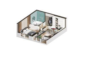Продається 1-кімнатна квартира 34.59 кв. м у Ірпені
