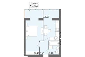 Продается 1-комнатная квартира 42.06 кв. м в Житомире