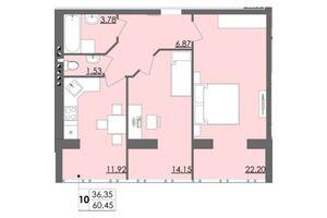 Продается 2-комнатная квартира 60.45 кв. м в Житомире