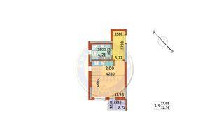 Продается 1-комнатная квартира 32.14 кв. м в Киеве