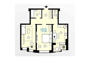 Продается 2-комнатная квартира 61.05 кв. м в Харькове