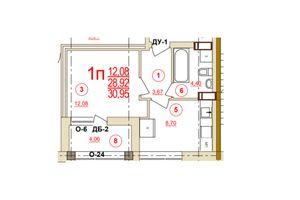 Продается 1-комнатная квартира 30.95 кв. м в Херсоне