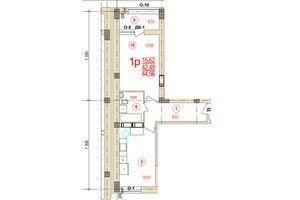 Продається 1-кімнатна квартира 44.56 кв. м у Херсоні