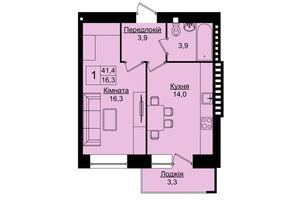 Продається 1-кімнатна квартира 41.4 кв. м у Тернополі
