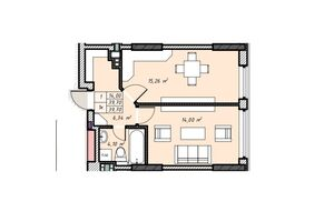 Продается 1-комнатная квартира 39.7 кв. м в Ровно