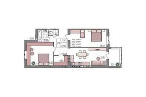 Продается 2-комнатная квартира 83.21 кв. м в Ровно