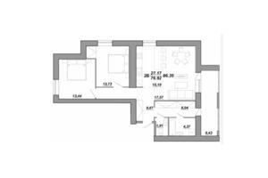 Продається 2-кімнатна квартира 86.35 кв. м у Тернополі