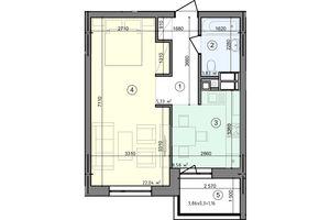 Продается 1-комнатная квартира 35.47 кв. м в Киеве