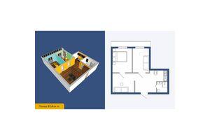 Продається 1-кімнатна квартира 57.4 кв. м у Кропивницькому