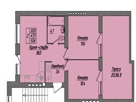 Продається 2-кімнатна квартира 53.6 кв. м у Тернополі