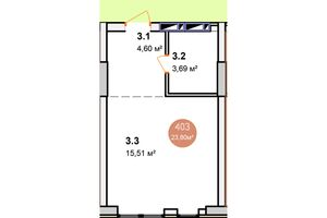 Продается 1-комнатная квартира 23.11 кв. м в Киеве