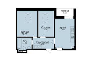 Продається 2-кімнатна квартира 48.96 кв. м у Ірпені