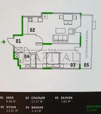 Продается 1-комнатная квартира 61 кв. м в Киеве