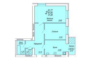 Продается 2-комнатная квартира 61.77 кв. м в Житомире