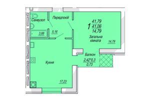 Продається 1-кімнатна квартира 41.49 кв. м у Житомирі