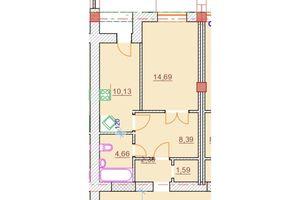 Продается 1-комнатная квартира 41.85 кв. м в Херсоне