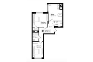 Продається 2-кімнатна квартира 66.95 кв. м у Львові