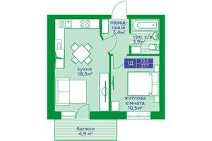 Продается 1-комнатная квартира 37.7 кв. м в Обухове